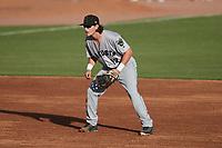 Augusta GreenJackets third baseman Cody Birdsong (12) on defense against the Charleston Boiled Peanuts at Joseph P. Riley, Jr. Park on June 26, 2021 in Charleston, South Carolina. (Brian Westerholt/Four Seam Images)