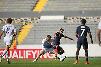 GUADALAJARA, MEXICO - MARCH 18: Mauricio Pineda #5 of the United States battles for the ball with Manfred Ugalde #14 of Costa Rica during a game between Costa Rica and USMNT U-23 at Estadio Jalisco on March 18, 2021 in Guadalajara, Mexico.