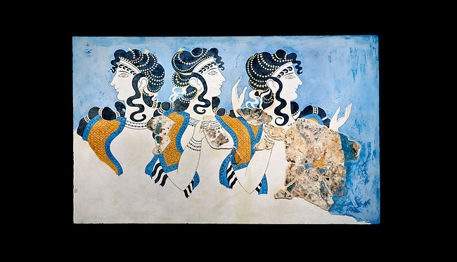 Minoan wall art fresco of 'Ladies in Blue' from Knossos Palace 1600-1450 BC. Heraklion Archaeological Museum. Black Background. <br /> <br /> The 'Ladies in Blue' Minoan fresco depicts richy dressed female figures with opulent jewelery and clothing with flamboyant hairstyles refecting the wealth of the Palace of Knossos