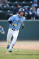 Colton Waltner (5) of the University of San Diego Toreros runs to first base during a game against the UCLA Bruins at Jackie Robinson Stadium on March 4, 2017 in Los Angeles, California.  USD defeated UCLA, 3-1. (Larry Goren/Four Seam Images)