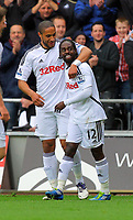 FAO SPORTS PICTURE DESK<br /> Pictured:Nathan Dyer of Swansea (R) celebrating his goal with team mate Ashley Williams (L). Saturday, 28 April 2012<br /> Re: Premier League football, Swansea City FC v Wolverhampton Wanderers at the Liberty Stadium, south Wales.