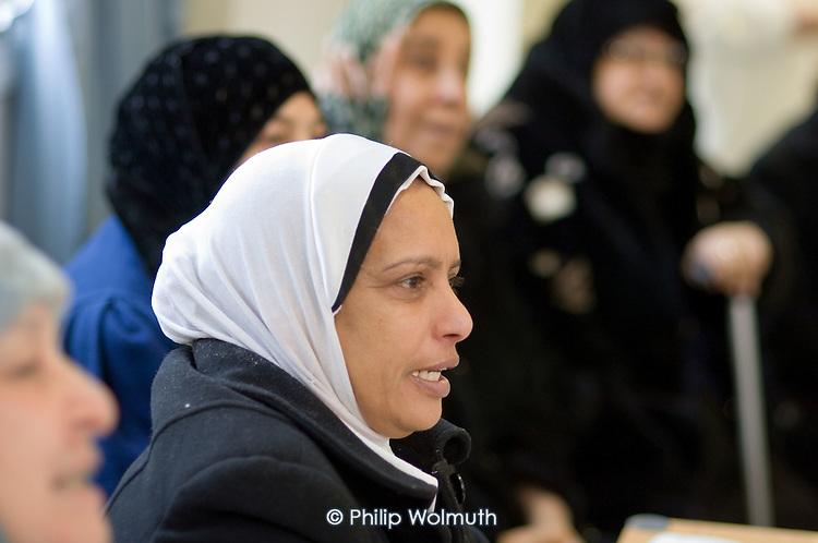 British-Arab Resource Centre English language class held at the WECH Community Centre on Elgin Estate, Paddington, London
