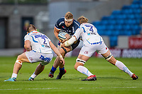21st August 2020; AJ Bell Stadium, Salford, Lancashire, England; English Premiership Rugby, Sale Sharks versus Exeter Chiefs; Dan du Preez of Sale Sharks is tackled by Jonny Gray and Luke Cowan-Dickie of Exeter Chiefs