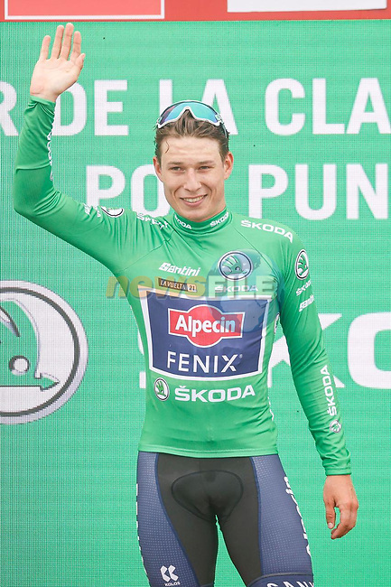 Jasper Philipsen (BEL) Alpecin-Fenix retains the points Green Jersey at the end of Stage 3 of La Vuelta d'Espana 2021, running 202.8km from Santo Domingo de Silos to Picon Blanco, Spain. 16th August 2021.    <br /> Picture: Luis Angel Gomez/Photogomezsport | Cyclefile<br /> <br /> All photos usage must carry mandatory copyright credit (© Cyclefile | Luis Angel Gomez/Photogomezsport)