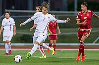 Montenegro's Sladjana Bulatovic and Spain's Jennifer Hermoso during the match of  European Women's Championship 2017 at Las Rozas, between Spain and Montenegro. September 15, 2016. (ALTERPHOTOS/Rodrigo Jimenez) /NORTEPHOTO