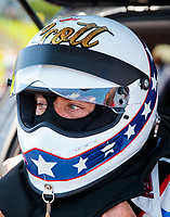Jun 8, 2019; Topeka, KS, USA; NHRA top fuel driver Scott Palmer during qualifying for the Heartland Nationals at Heartland Motorsports Park. Mandatory Credit: Mark J. Rebilas-USA TODAY Sports