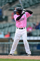 Rochester Red Wings third baseman Ray Olmedo #1 at bat during a game against the Columbus Clippers on May 12, 2013 at Frontier Field in Rochester, New York.  Rochester defeated Columbus 5-4 wearing special pink jerseys for Mother's Day.  (Mike Janes/Four Seam Images)
