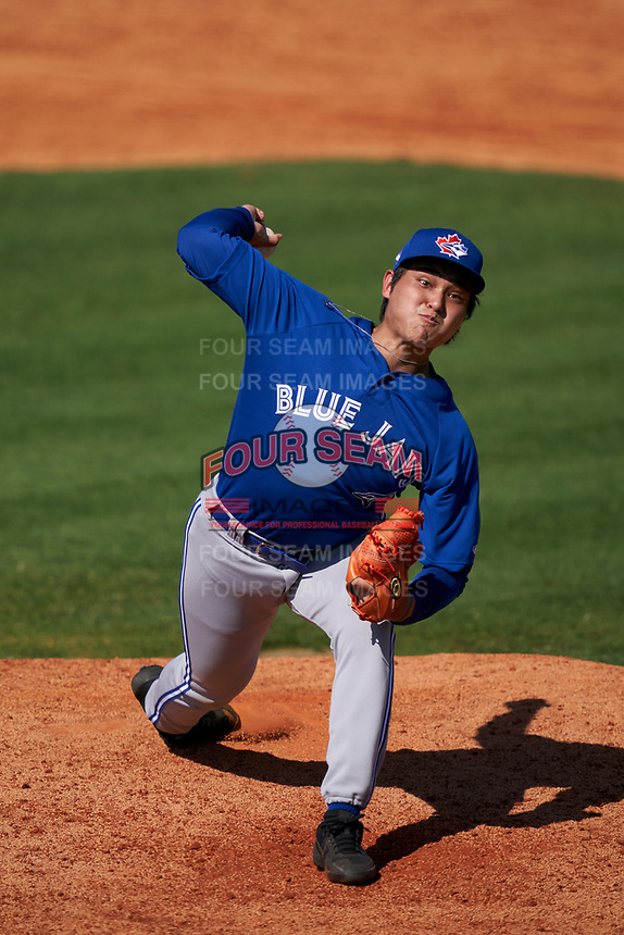 Toronto Blue Jays pitcher Rafael Ohashi (41) during a Minor League Spring Training game against the Detroit Tigers on April 22, 2021 at Tigertown in Lakeland, Florida.  (Mike Janes/Four Seam Images)