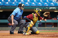 Catcher Cole Messina (25) of Summerville HS in Summerville, SC playing for the Arizona Diamondbacks scout team sets a target as home plate umpire Michael Kelley looks on during the East Coast Pro Showcase at the Hoover Met Complex on August 5, 2020 in Hoover, AL. (Brian Westerholt/Four Seam Images)