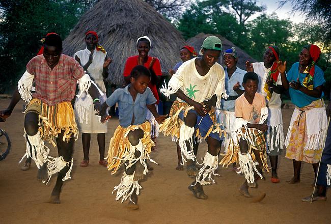 Villagers dancing, village of Mahenye, Manicaland Province, Zimbabwe, Africa