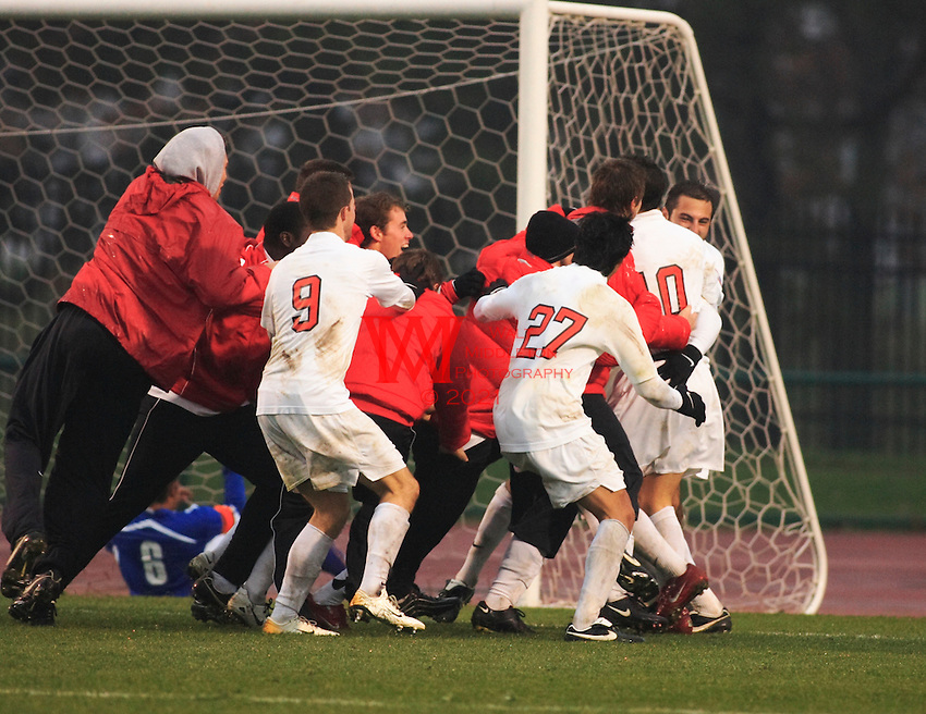 The Ohio State Men's Soccer Team celebrates after their double overtime upset over defending national champions University of California Santa Barbara during the 3rd round of the 2007 NCAA Collage Cup.