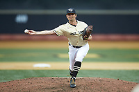 Wake Forest Demon Deacons relief pitcher Ben Casstevens (20) delivers a pitch to the plate against the Miami Hurricanes at David F. Couch Ballpark on May 11, 2019 in  Winston-Salem, North Carolina. The Hurricanes defeated the Demon Deacons 8-4. (Brian Westerholt/Four Seam Images)