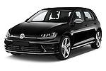 2014 Volkswagen Golf R 5 Door Hatchback 4WD Angular Front stock photos of front three quarter view