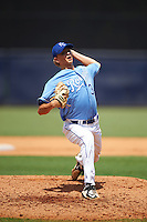 Pitcher Sam Weatherly (34) of Howell High School in Howell, Michigan playing for the Kansas City Royals scout team during the East Coast Pro Showcase on August 3, 2016 at George M. Steinbrenner Field in Tampa, Florida.  (Mike Janes/Four Seam Images)