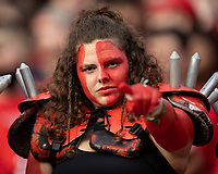 ATHENS, GA - SEPTEMBER 18: Member of the Spike Squad cheers her team before a game between South Carolina Gamecocks and Georgia Bulldogs at Sanford Stadium on September 18, 2021 in Athens, Georgia.