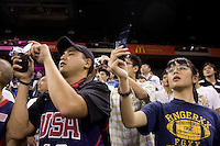 Fans watch the US Men before the game at the Cotai Arena in the Venetian Macau Hotel & Resort.  The US defeated Turkey, 114-82.