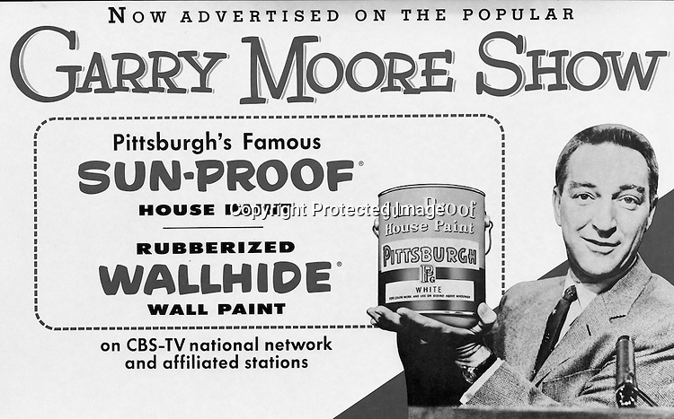 Client: Pittsburgh Plate Glass<br /> Ad Agency: W Craig Chambers<br /> Product: Sun-Proof and Wallhide Paint<br /> Location: Brady Stewart Studio at 725 Liberty Avenue in Pittsburgh<br /> <br /> PPG Advertisement for the Gary Moore Television Show
