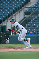 AZL Indians 2 right fielder Jhon Torres (22) hustles down the first base line during an Arizona League game against the AZL Angels at Tempe Diablo Stadium on June 30, 2018 in Tempe, Arizona. The AZL Indians 2 defeated the AZL Angels by a score of 13-8. (Zachary Lucy/Four Seam Images)