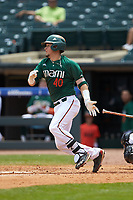 Joe Gomez (40) of the Miami Hurricanes follows through on his swing against the Wake Forest Demon Deacons in Game Nine of the 2017 ACC Baseball Championship at Louisville Slugger Field on May 26, 2017 in Louisville, Kentucky. The Hurricanes defeated the Demon Deacons 5-2. (Brian Westerholt/Four Seam Images)