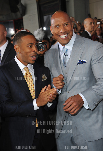"""Chris """"Ludacris"""" Bridges (left) & Dwayne """"The Rock"""" Johnson at the world premiere of their movie """"Furious 7"""" at the TCL Chinese Theatre, Hollywood.<br /> April 1, 2015  Los Angeles, CA<br /> Picture: Paul Smith / Featureflash"""