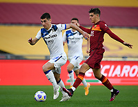 Football, Serie A: AS Roma - Atalanta Olympic stadium, Rome, April 22, 2021. <br /> Atalanta's Ruslan Malinovskyi (l) in action with Roma's Gonzalo Villar (r) during the Italian Serie A football match between AS Roma and Atalanta at Rome's Olympic stadium, Rome, on April 22, 2021.  <br /> UPDATE IMAGES PRESS/Isabella Bonotto