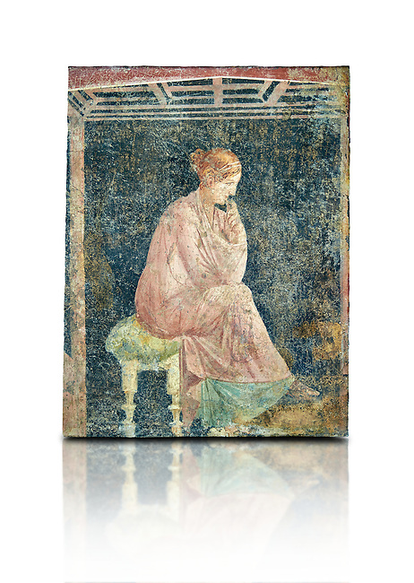 Roman fresco wall painting of a women thinking from the Villa Arianna (Adriana), Stabiae (Stabia) near Pompeii , inv 9097, Naples National Archaeological Museum , white background