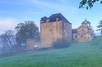 France, Correze, Lissac sur Couze, Chateau de Lissac and Saint Pierre aux Liens church // France, Corrèze (19), Lissac-sur-Couze, le château de Lissac et l'église Saint-Pierre-aux-Liens