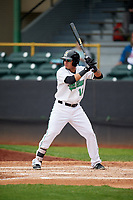 Clinton LumberKings shortstop Rayder Ascanio (13) at bat during a game against the Lansing Lugnuts on May 9, 2017 at Ashford University Field in Clinton, Iowa.  Lansing defeated Clinton 11-6.  (Mike Janes/Four Seam Images)