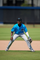 Miami Marlins shortstop Ian Lewis (8) during practice before an Instructional League game against the Washington Nationals on September 26, 2019 at FITTEAM Ballpark of The Palm Beaches in Palm Beach, Florida.  (Mike Janes/Four Seam Images)