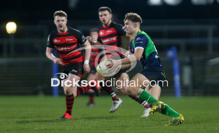 Friday 6th March 2020   Armagh RFC vs Ballynahinch RFC<br /> <br /> Greg Hutley during the Bank Of Ireland Ulster Senior Cup Final between the City of Armagh RFC and Ballynahinch RFC at Kingspan Stadium, Ravenhill Park, Belfast, Northern Ireland. Photo by John Dickson / DICKSONDIGITAL