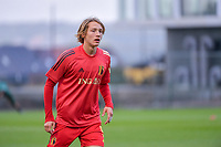 Luca Monticelli (9) of Belgium pictured during a soccer game between the national teams Under17 Youth teams of Belgium and Luxemburg in the Qualifying round in group 3 on wednesday 6 th of October 2020  in Tubize , Belgium . PHOTO SPORTPIX | STIJN AUDOOREN
