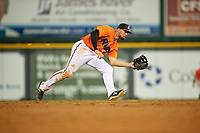 Richmond Flying Squirrels second baseman Dillon Dobson (28) fields a ground ball during a game against the Trenton Thunder on May 11, 2018 at The Diamond in Richmond, Virginia.  Richmond defeated Trenton 6-1.  (Mike Janes/Four Seam Images)