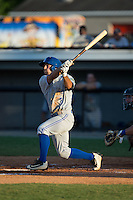Nick Sinay (6) of the Bluefield Blue Jays follows through on his swing against the Burlington Royals at Burlington Athletic Stadium on June 26, 2016 in Burlington, North Carolina.  The Blue Jays defeated the Royals 4-3.  (Brian Westerholt/Four Seam Images)