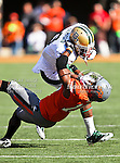 Baylor Bears wide receiver Lanear Sampson (3) and Oklahoma State Cowboys cornerback Brodrick Brown (19) in action during the game between the Baylor Bears and the Oklahoma State Cowboys at the Boone Pickens Stadium in Stillwater, OK. Oklahoma State defeats Baylor 59 to 24.