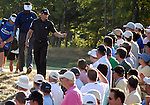1 September 2008: Sergio Garcia tosses a golf ball to a fan after the fifteenth hole at the Deutsche Bank Golf Championship in Norton, Massachusetts.
