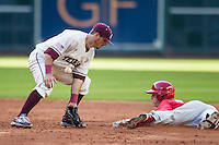 Texas A&M Aggies shortstop Blake Allemand (1) bobbles a throw as Nebraska Cornhuskers baserunner Jake Schleppenbach (6) slides into second base during Houston College Classic on March 6, 2015 at Minute Maid Park in Houston, Texas. Texas A&M defeated Nebraska 2-1. (Andrew Woolley/Four Seam Images)