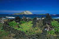 Modern Heiau (Hawaiian temple) built at Makapuu point with rabbit island in rear, Oahu