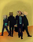 Businessmen with cardboard box on their head