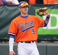 Right fielder Steven Duggar (9) of the Clemson Tigers prior to a game against the South Carolina Gamecocks on Saturday, March 2, 2013, at Fluor Field at the West End in Greenville, South Carolina. Clemson won the Reedy River Rivalry game 6-3. (Tom Priddy/Four Seam Images).