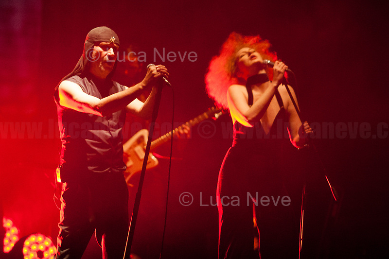 """Rome, 01/04/2019. Laibach (1.) in concert at Teatro Parioli in Rome, presenting the show called """"The Sound of Music"""".<br /> <<Laibach is a Slovenian avant-garde music group associated with the industrial, martial, and neo-classical genres. Formed in a small mining town of Trbovlje (at the time in Yugoslavia) in 1980, Laibach represents the musical wing of the Neue Slowenische Kunst (NSK) collective, a group which Laibach helped found in 1984. """"Laibach"""" is the German historical name for the Slovenian capital Ljubljana, itself an oblique reference to the Nazi occupation of Slovenia in World War II. From the early days, the band was subject to controversies and bans due to their use of iconography associated with totalitarianism, nationalism and militarism, a concept they have preserved throughout their career. Censored and banned in Socialist Yugoslavia […]. After Slovenia became independent in 1991, Laibach's status in the country has turned from rejection to promotion into a national cultural icon [...]. [Laibach] were also accused of being members of the neo-nationalism movement, which reincarnates modern ideas of nationalism. When confronted with such accusations, Laibach are quoted as replying with the ambiguous response """"We are fascists as much as Hitler was a painter""""[...]>> (Source Wikipedia.org, 2.).<br /> In 1993, the famous Slovenian political philosopher - Marxism, German idealism and Lacanian psychoanalysis - and cultural critic, Slavoj Zizek (3.) wrote an essay about the band Laibach called """"Why are Laibach and NSK not Fascists? by Slavoj Zizek"""" (Source Deterritorium.wordpress.com, 4.).<br /> <br /> Footnotes and Links:<br /> 1. http://www.laibach.org/<br /> 2. https://en.wikipedia.org/wiki/Laibach<br /> 3. My Stories: 11.11.14 - LSE presents: Professor Slavoj Zizek, """"The Need to Censor Our Dreams"""": https://bit.ly/2ONOrec<br /> 20.04.16 - LSE presents: Professor Slavoj Zizek: https://bit.ly/2OPXHPa<br /> 4. https://bit.ly/2WQs1vT"""