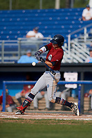 Mahoning Valley Scrappers third baseman Nolan Jones (10) swings at a pitch during the first game of a doubleheader against the Batavia Muckdogs on August 28, 2017 at Dwyer Stadium in Batavia, New York.  Mahoning Valley defeated Batavia 6-3.  (Mike Janes/Four Seam Images)