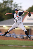 August 2nd 2008:  Pitcher Alan Knotts of the State College Spikes, Class-A affiliate of the Pittsburgh Pirates, during a game at Dwyer Stadium in Batavia, NY.  Photo by:  Mike Janes/Four Seam Images