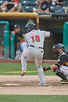 Anthony Garcia (10) of the Nashville Sounds bats against the Salt Lake Bees at Smith's Ballpark on July 28, 2018 in Salt Lake City, Utah. The Bees defeated the Sounds 11-6. (Stephen Smith/Four Seam Images)