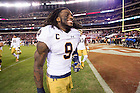 Oct. 31, 2015; Linebacker Jaylon Smith (9) leaves the field after Notre Dame defeated the Temple Owls 24-20 at Lincoln Financial Field. (Photo by Matt Cashore)