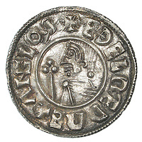 BNPS.co.uk (01202 558833)<br /> Pic: DNW/BNPS<br /> <br /> Mint silver penny of King Ethelred II - showing the Anglo-saxon kings head.<br /> <br /> A builder is celebrating today after unearthing an enormous hoard of silver coins worth £50,000.<br /> <br /> Don Crawley was searching Suffolk farmland with his metal detector when he stumbled upon the buried treasure.<br /> <br /> He dug up 99 silver coins - 81 pennies and 18 cut halfpennies - all dating back to Anglo Saxon England and the reign of King Ethelred II from 978-1016AD.
