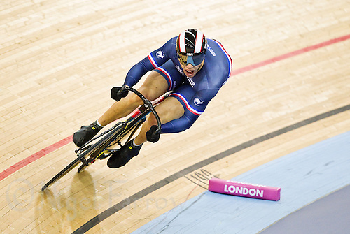 19 FEB 2012 - LONDON, GBR - France's Kevin Sireau (FRA) attempts to qualify for the Men's Sprint during the UCI Track Cycling World Cup, and London Prepares test event for the 2012 Olympic Games, in the Olympic Park Velodrome in Stratford, London, Great Britain .(PHOTO (C) 2012 NIGEL FARROW)