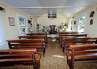 Inside view of little historic green church named Ierusalema Hou Church in Halawa, Moloka'i