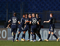Football, Serie A: S.S. Lazio - Juventus Olympic stadium, Rome, November 8, 2020. <br /> Juventus' Cristiano Ronaldo (c) celebrates after scoring with his teammates during the Italian Serie A football match between Lazio and Juventus at Olympic stadium in Rome, on November 8, 2020.<br /> UPDATE IMAGES PRESS/Isabella Bonotto