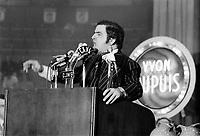 ARCHIVE -<br /> <br /> le chef du Ralliement créditiste du Québec, Yvon Dupuis,<br /> en 1973,<br /> date exacte inconnue<br /> <br /> Photo : Agence Quebec Presse  - Alain Renaud