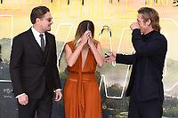 """Leonardo DiCaprio, Margot Robbie and Brad Pitt<br /> arriving for the """"Once Upon a Time... in Hollywood"""" premiere, Leicester Square, London<br /> <br /> ©Ash Knotek  D3514  30/07/2019"""